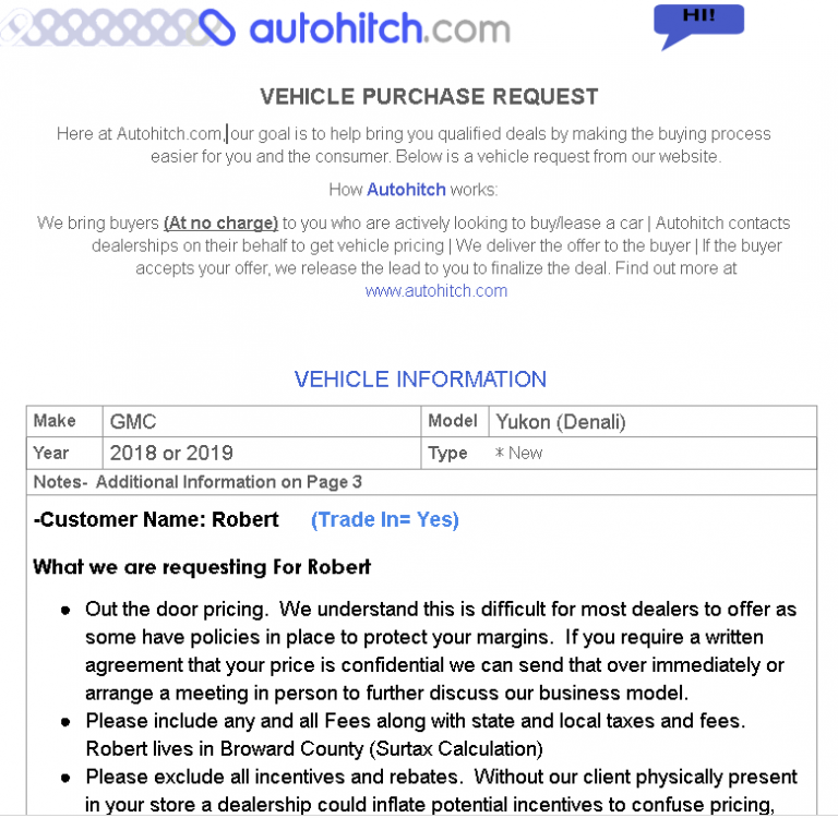 Autohitch Pricing Request For Car Dealers