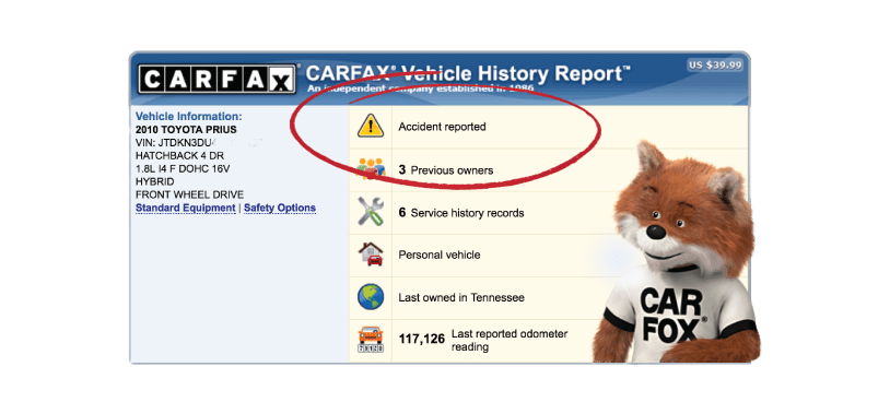 Carfax Accident Report on a carfax report